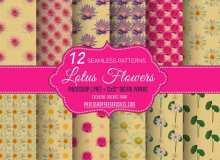 12种莲花可无缝拼接Photoshop填充背景素材下载