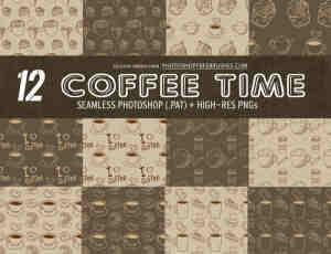 12种可爱卡通咖啡杯图案Photoshop背景填充素材下载