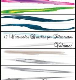 12钟艺术水彩Photoshop笔刷素材下载-海量PS笔刷素材 第 85 页