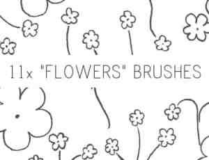 11种简单手绘涂鸦小花PS笔刷素材下载