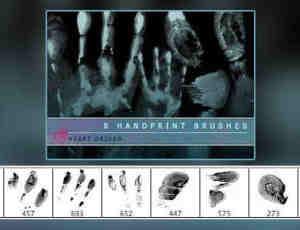 手掌印、指纹、掌纹Photoshop笔刷素材下载