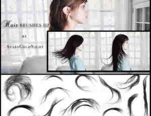 飘逸飞散的长发、女士发型、真实头发Photoshop笔刷下载
