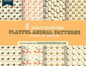 8种萌萌哒蝴蝶、长颈鹿、猫头鹰、狐狸、小鸟Photoshop填充素材下载