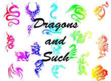 龙形纹身、龙纹饰photoshop自定义形状素材 .csh 下载