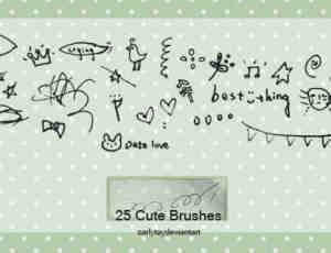 25个可爱的涂鸦素材PS笔刷下载