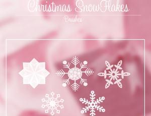 可爱漂亮的雪花花纹图案PS笔刷下载