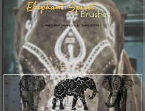 非主流花式大象图案PS美图笔刷