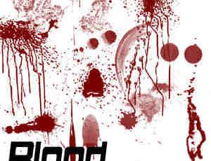 血迹涂抹、滴溅效果Photoshop笔刷素材