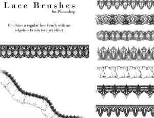 漂亮的另类蕾丝边花纹饰品图案PS笔刷下载