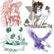 天使、精灵、熊猫、老鹰PS纹身刺青图案笔刷下载
