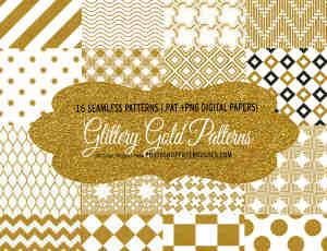 16个亮金金、金粉花纹饰品Photoshop填充图案底纹素材.pat
