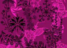 漂亮的昆虫植物花纹印花图案Photoshop笔刷下载