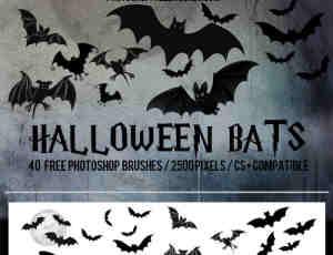 21种万圣节卡通蝙蝠Photoshop笔刷素材下载