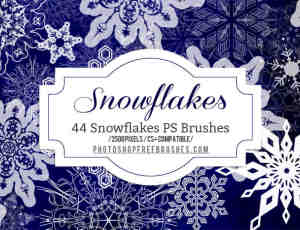 44种高清雪花图案纹饰Photoshop圣诞节花纹笔刷