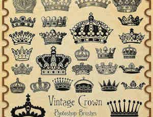各式各样古老的皇冠、王冠Photoshop笔刷下载