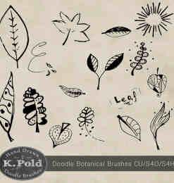 可爱的童趣涂鸦树叶Photoshop叶子笔刷-涂鸦笔刷 第 5 页