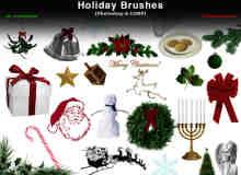 圣诞节元素节日装扮Photoshop饰品笔刷