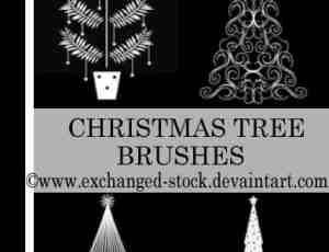 艺术圣诞树花纹图案Photoshop笔刷下载