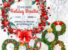 18中漂亮的圣诞节花环饰品PS笔刷下载