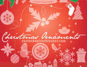 42种高清圣诞节装扮元素Photoshop笔刷下载