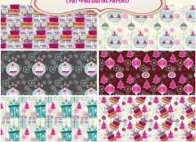 12种漂亮卡哇伊的圣诞节礼物、彩球装饰Photoshop背景填充素材下载