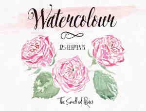 漂亮的手绘水彩玫瑰花图案Photoshop笔刷下载