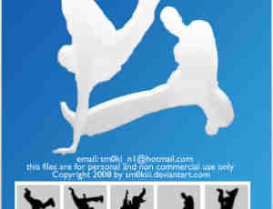 霹雳舞姿剪影Photoshop笔刷下载