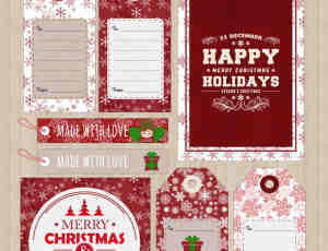 圣诞节吊牌、卡牌、贺卡、请帖封面PDF素材下载
