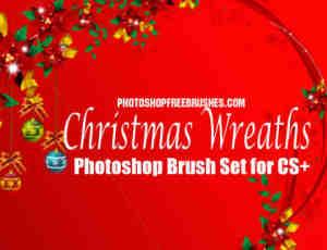 圣诞节装饰花环、花圈Photoshop笔刷下载