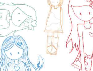铅笔手绘涂鸦小女孩Photoshop可爱笔刷