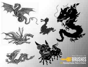 中国五爪金龙和西方恶龙造型PS笔刷下载
