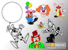 搞笑小丑造型Photoshop笔刷下载