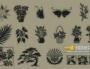 细致的精美植物花纹、壁画图案Photoshop笔刷下载