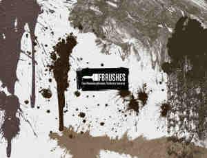 泥层污垢痕迹、水泥浆滴溅Photoshop笔刷下载