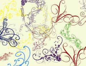 优雅的漩涡植物花纹图案PS笔刷素材下载