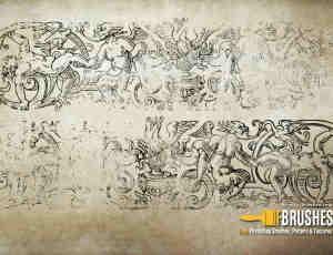 古西欧神话壁画图案PS笔刷下载