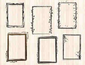 花卉、植物花纹边框、相框、画框、框架PS笔刷下载