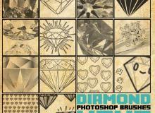 钻石、手绘钻石图形、线框钻石PS笔刷下载