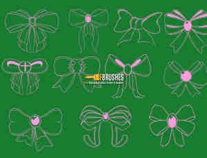 可爱线条式蝴蝶结图案PS笔刷下载