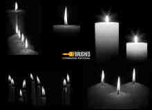 真实点燃的蜡烛、烛光、烛火Photoshop笔刷下载