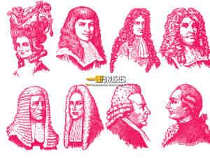 欧洲中世纪贵族假发人物造型PS笔刷素材下载