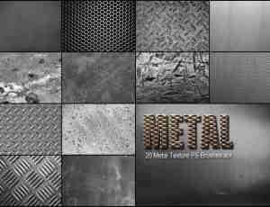 20种高清金属质地纹理Photoshop材质笔刷