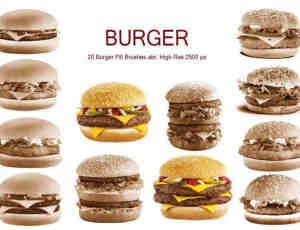20种汉堡包图形PS笔刷下载