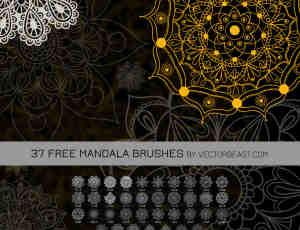 37种漂亮的曼荼罗花纹、印花图案Photoshop笔刷素材