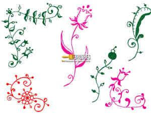 手绘涂鸦式植物花纹图案Photoshop笔刷下载