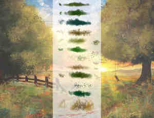 手绘式叶子、青草等植被笔触Photoshop绘画笔刷