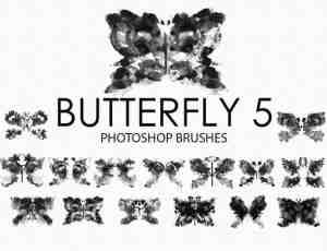 免费的水彩蝴蝶Photoshop笔刷 #.5