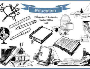 20个教育学习元素图形Photoshop笔刷素材下载