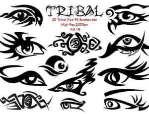 20种漂亮的眼睛纹饰、眼睛刺青纹身图案PS高清笔刷