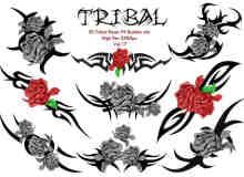 血色玫瑰花式纹饰、纹身图案PS笔刷下载